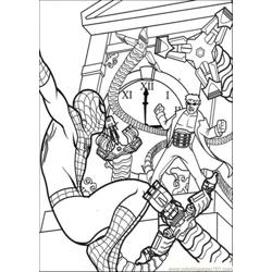 Spiderman Hangs And Hits The Enemy Free Coloring Page for Kids