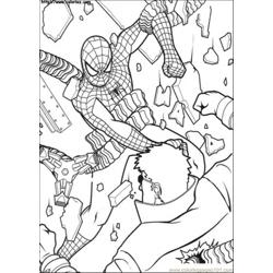 Spiderman Hits Him Again Free Coloring Page for Kids