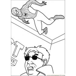 Spiderman Is Hiding At The Wall Free Coloring Page for Kids