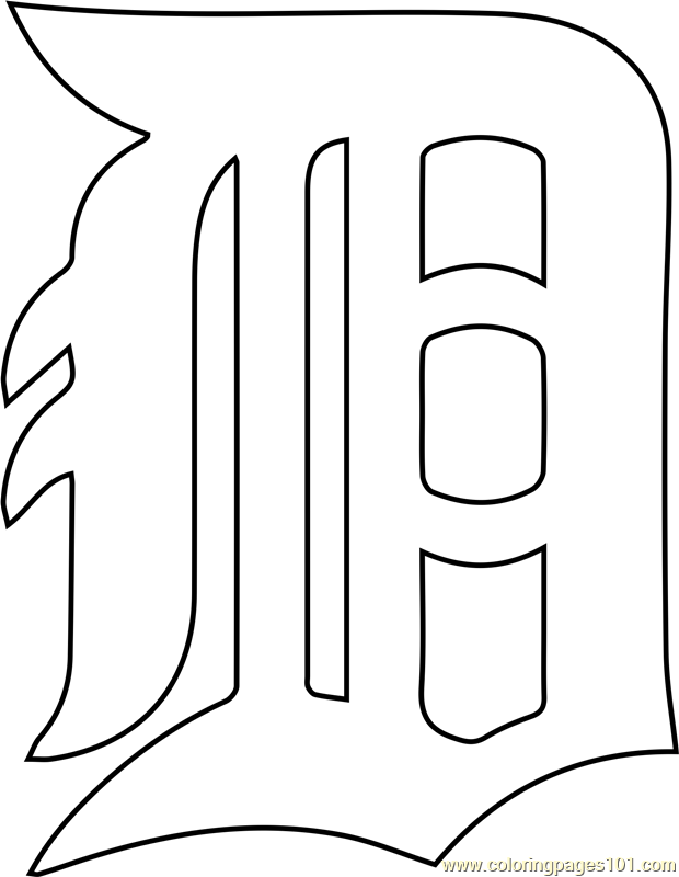 Detroit Tigers Logo Coloring Page Free Mlb Coloring