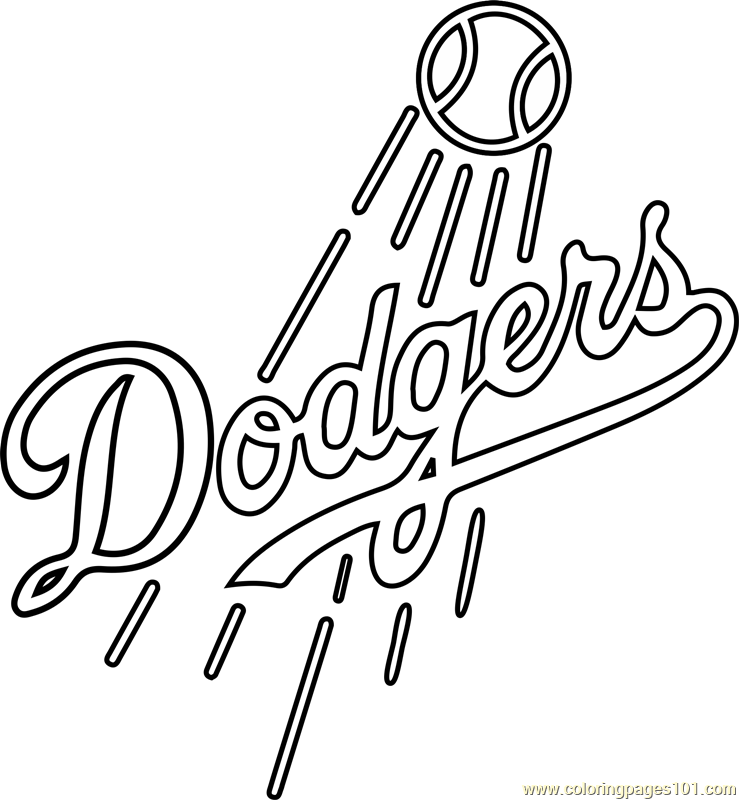 Los Angeles Dodgers Logo Coloring Page Free Mlb Coloring