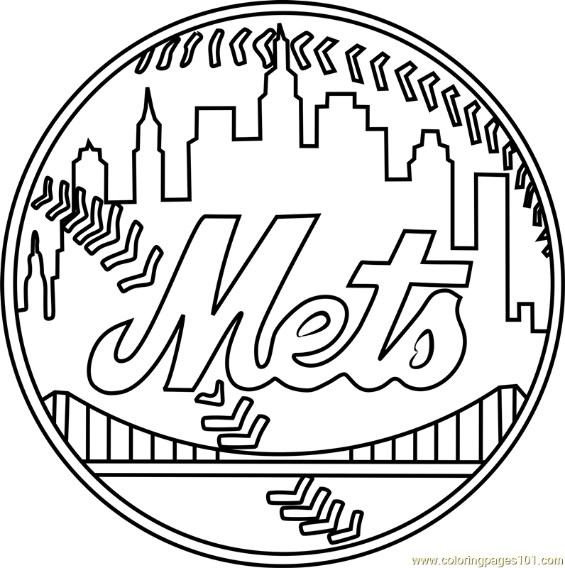 New York Mets Logo Coloring Page Free Mlb Coloring Pages