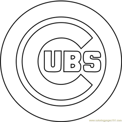 Chicago Cubs Logo Free Coloring Page for Kids