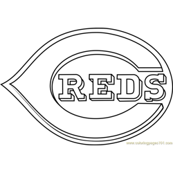 Cincinnati Reds Logo Free Coloring Page for Kids