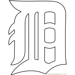 Detroit Tigers Logo Free Coloring Page for Kids