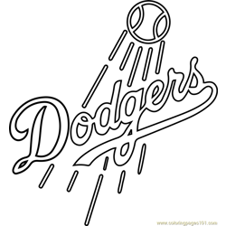 Los Angeles Dodgers Logo Free Coloring Page for Kids