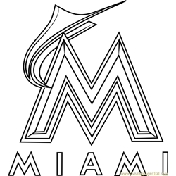 Miami Marlins Logo Free Coloring Page for Kids