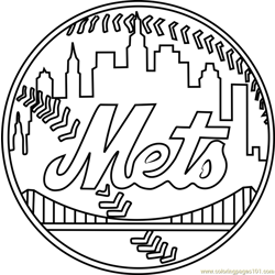 New York Mets Logo Free Coloring Page for Kids