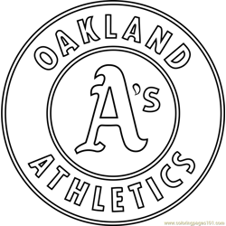 Oakland Athletics Logo Free Coloring Page for Kids