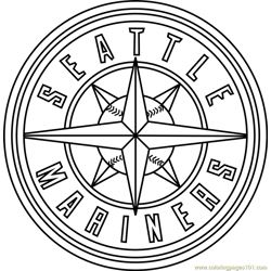 Seattle Mariners Logo Free Coloring Page for Kids