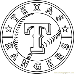 Texas Rangers Logo Free Coloring Page for Kids