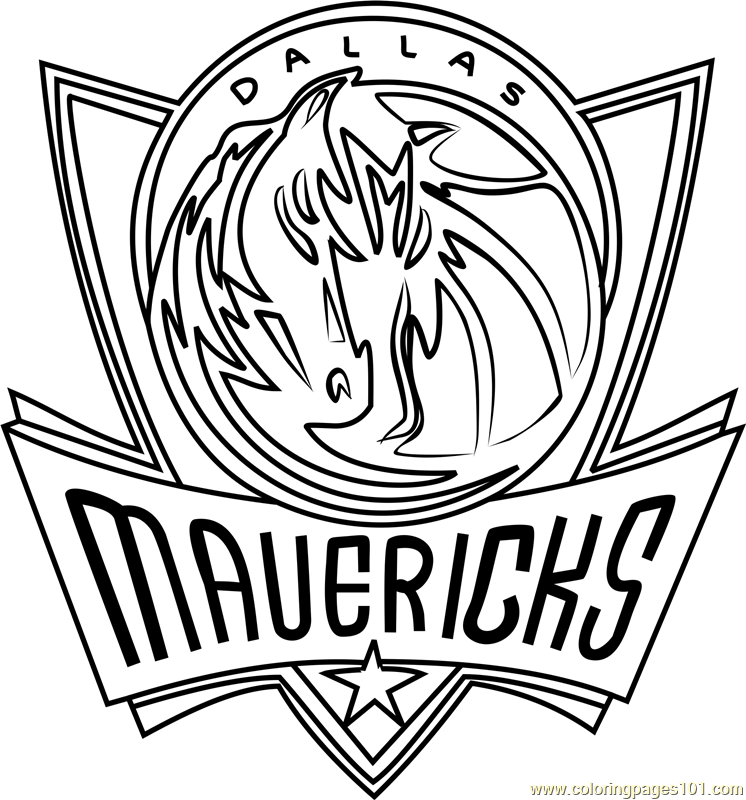 Dallas Mavericks Coloring Page Nba Pages Printable National Basketball
