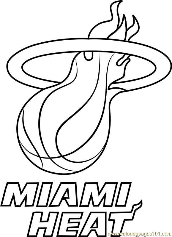 Miami Heat Coloring Page - Free NBA Coloring Pages ...