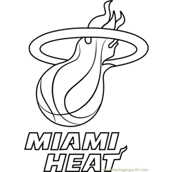 Miami Heat Free Coloring Page for Kids