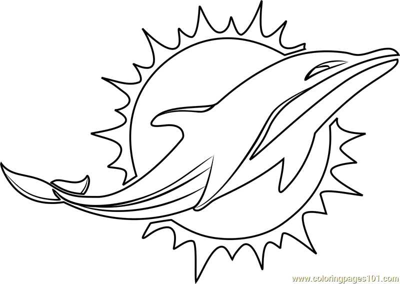 Miami Dolphins Logo Coloring Page Free Nfl Coloring