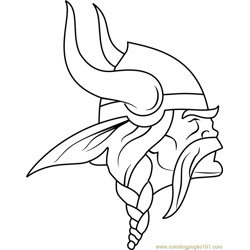 Minnesota Vikings Logo Free Coloring Page for Kids