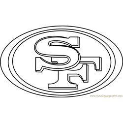 San Francisco 49ers Logo Free Coloring Page for Kids