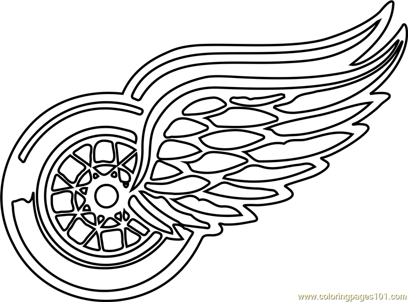 image relating to Detroit Red Wings Printable Schedule named Detroit Purple Wings Symbol printable coloring website page for youngsters and
