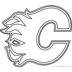 Calgary Flames Logo Free Coloring Page for Kids
