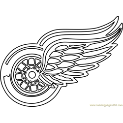 Detroit Red Wings Logo Free Coloring Page for Kids