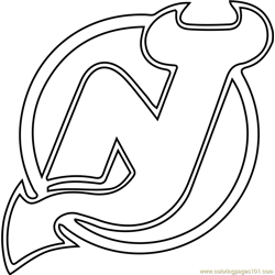 New Jersey Devils Logo Free Coloring Page for Kids