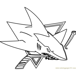San Jose Sharks Logo Free Coloring Page for Kids
