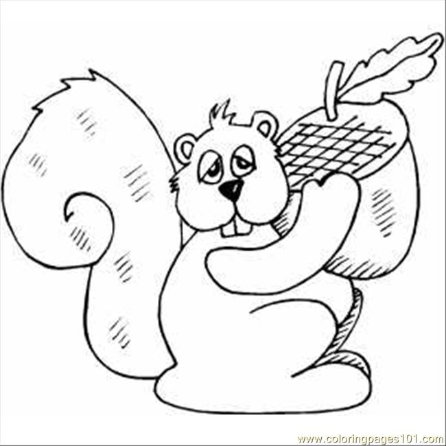 Squirrel With Acorn Coloring Page