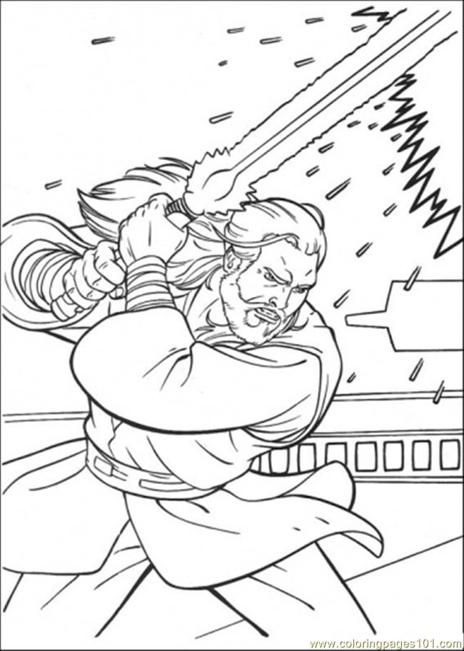 obi wan kenobi in fight coloring page