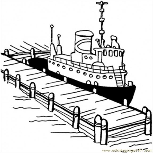 Boat Near The Pier Coloring Page Free Structures