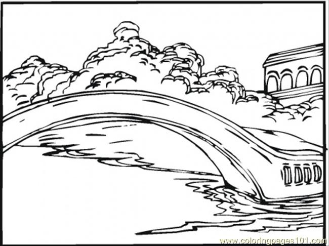 Bridge On The Lake Coloring Page