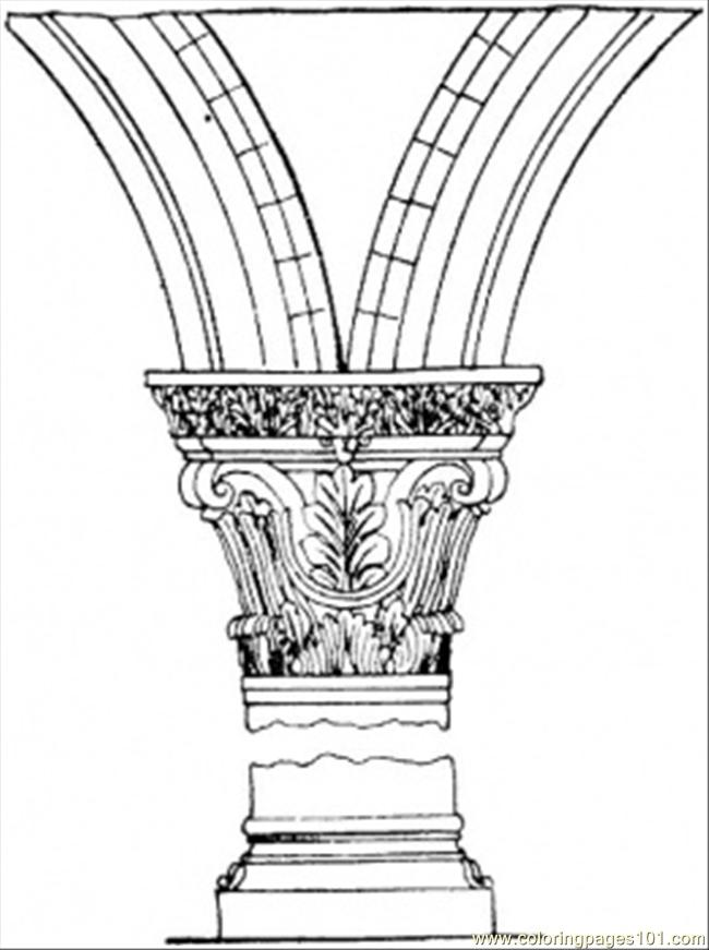 Broken Column Coloring Page Free Structures Coloring Pages