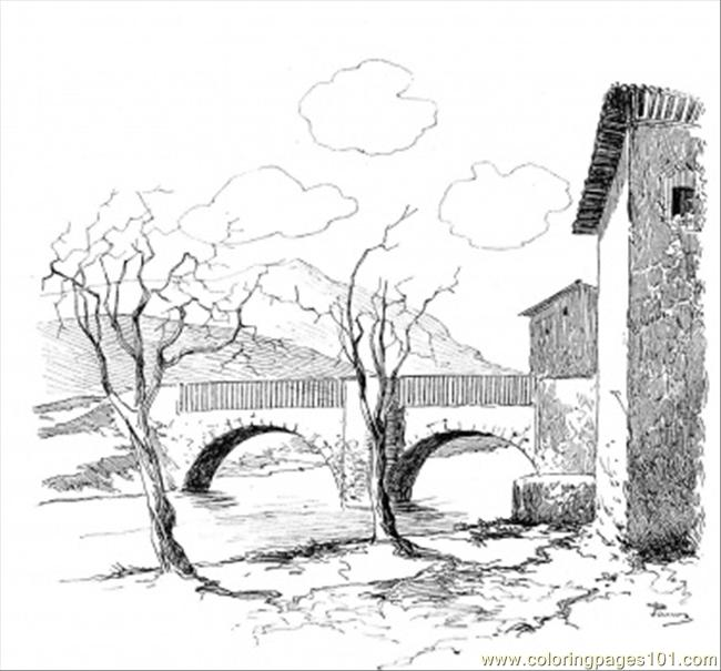 Old Bridge Coloring Page