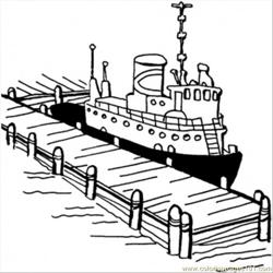 Boat Near The Pier Free Coloring Page for Kids