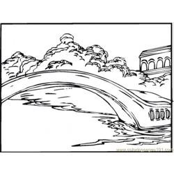 Bridge On The Lake Free Coloring Page for Kids