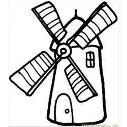 Windmill Free Coloring Page for Kids