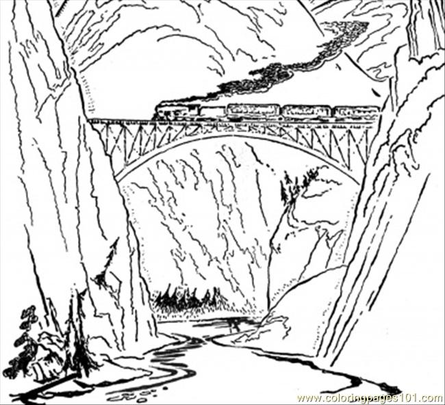 Train On The Bridge Coloring Page