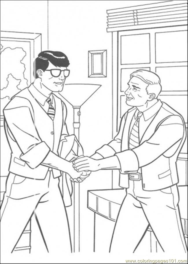 Clark Is Shaking Hand With His Boss Coloring Page