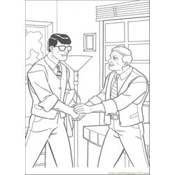 Clark Is Shaking Hand With His Boss Free Coloring Page for Kids