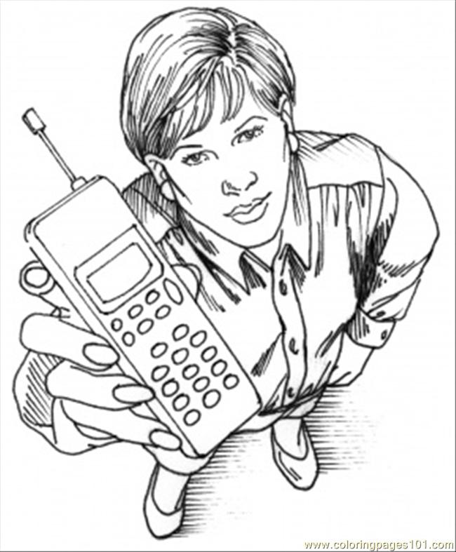 Here Is Your Cell Phone Coloring Page