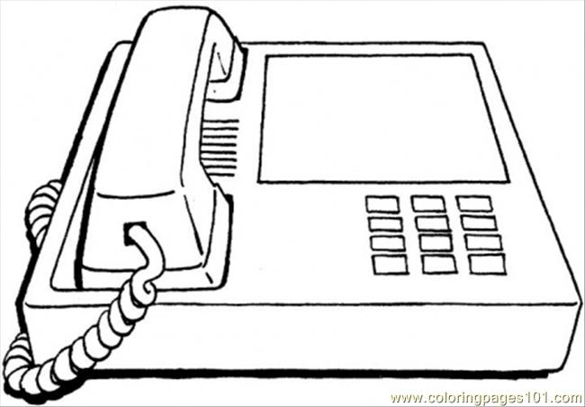 Office Phone Coloring Page