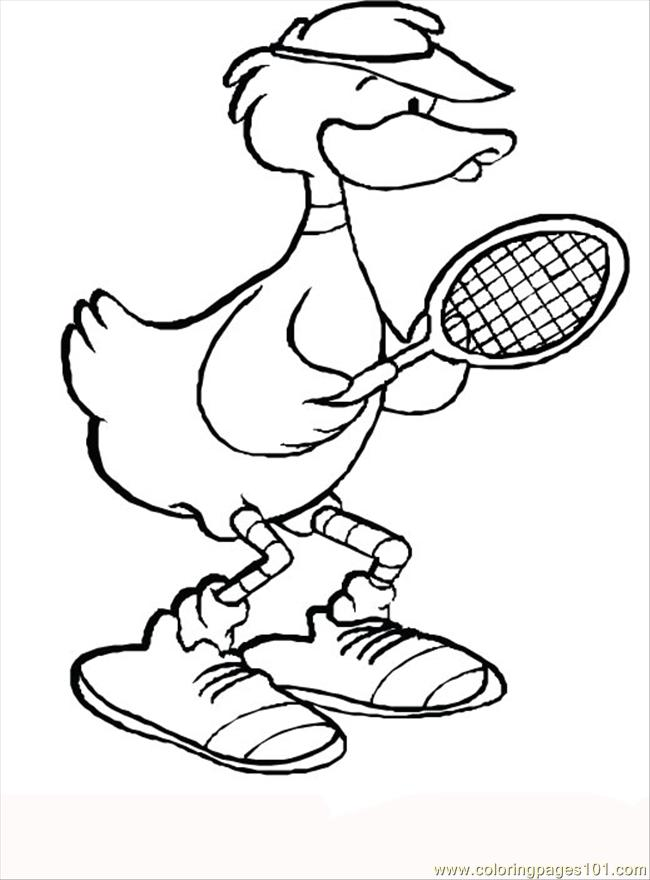 Tennis Duck 950517 Coloring Page