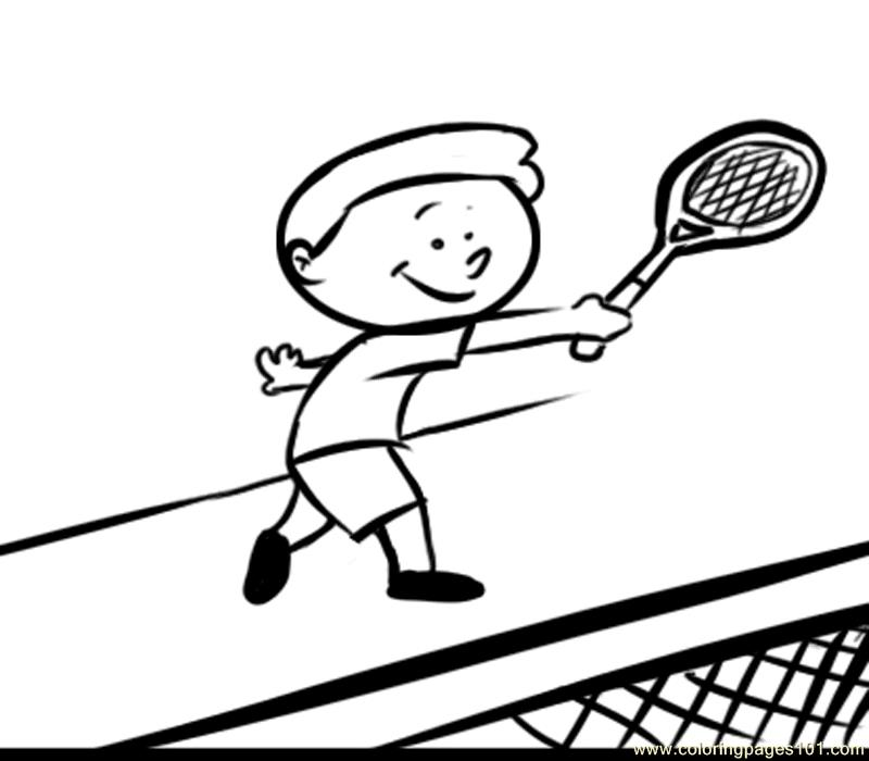 Kid Play Tennis Coloring Page - Free Tennis Coloring Pages ...