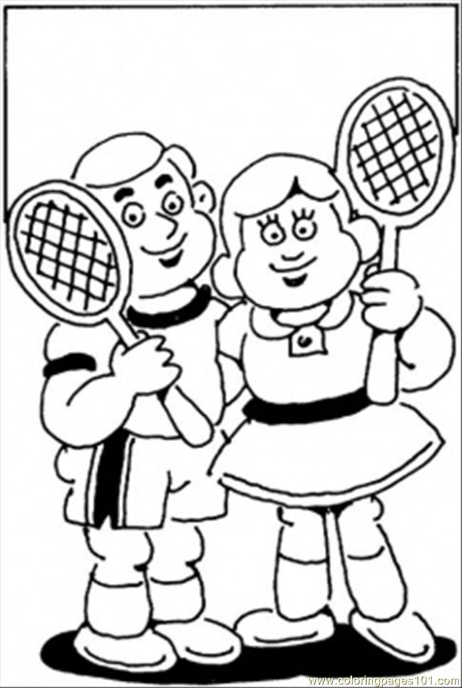 Little Tennis Players Coloring Page