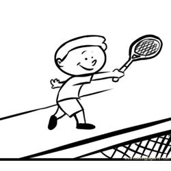 Kid Play Tennis  coloring page