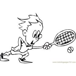 Kid Play Tennis Free Coloring Page for Kids