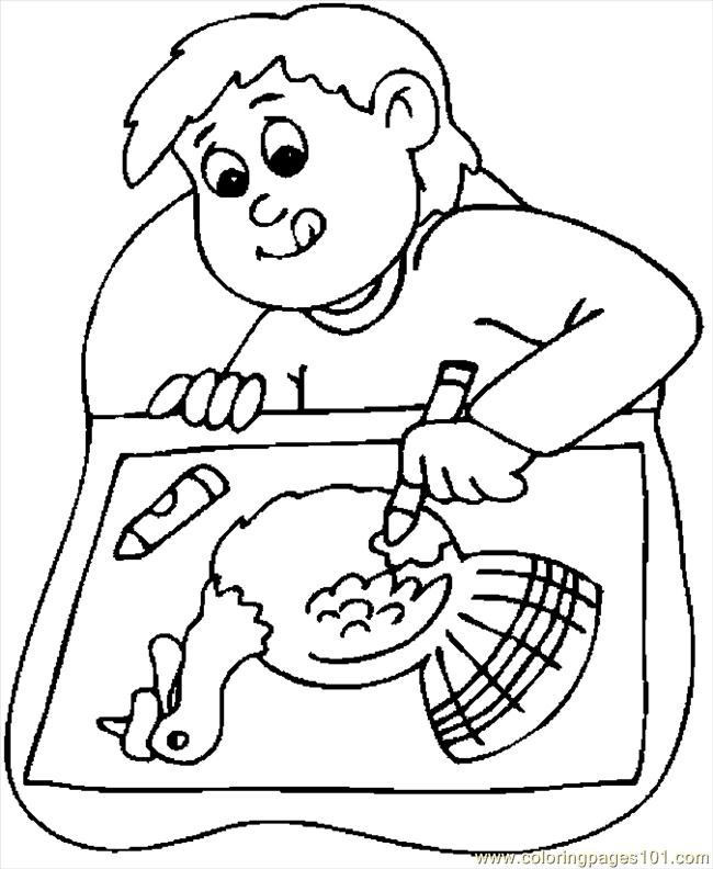 Boy Drawing Turkey Coloring Page