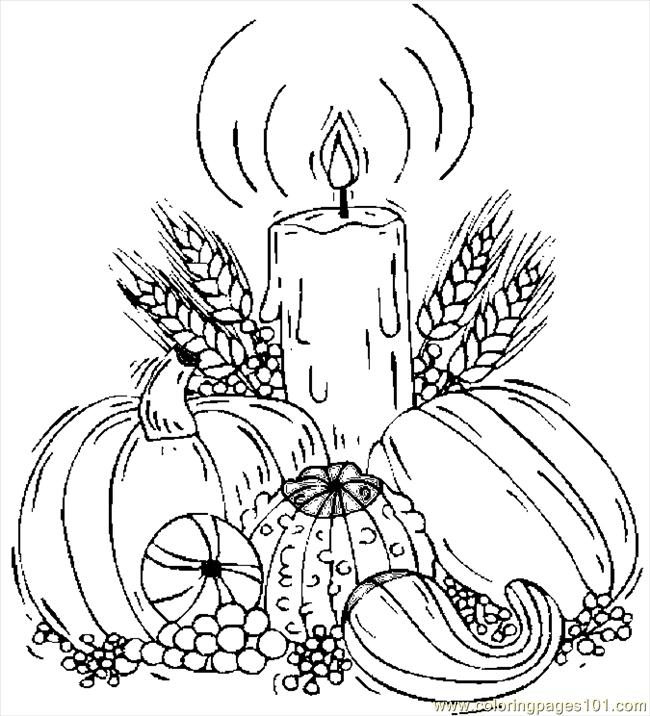 Candle & Harvest Coloring Page