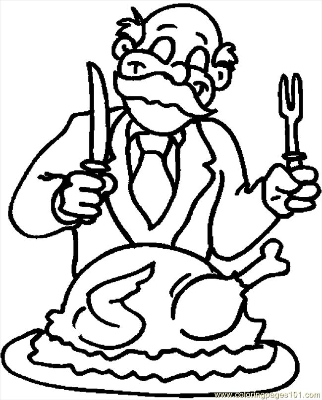 Carving The Turkey 1 Coloring Page