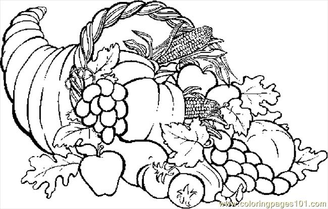 Cornucopia 04 Coloring Page Free Thanksgiving Day