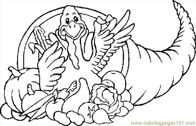 Cornucopia Turkey Coloring Page Free Thanksgiving Day Cornucopia Coloring Page